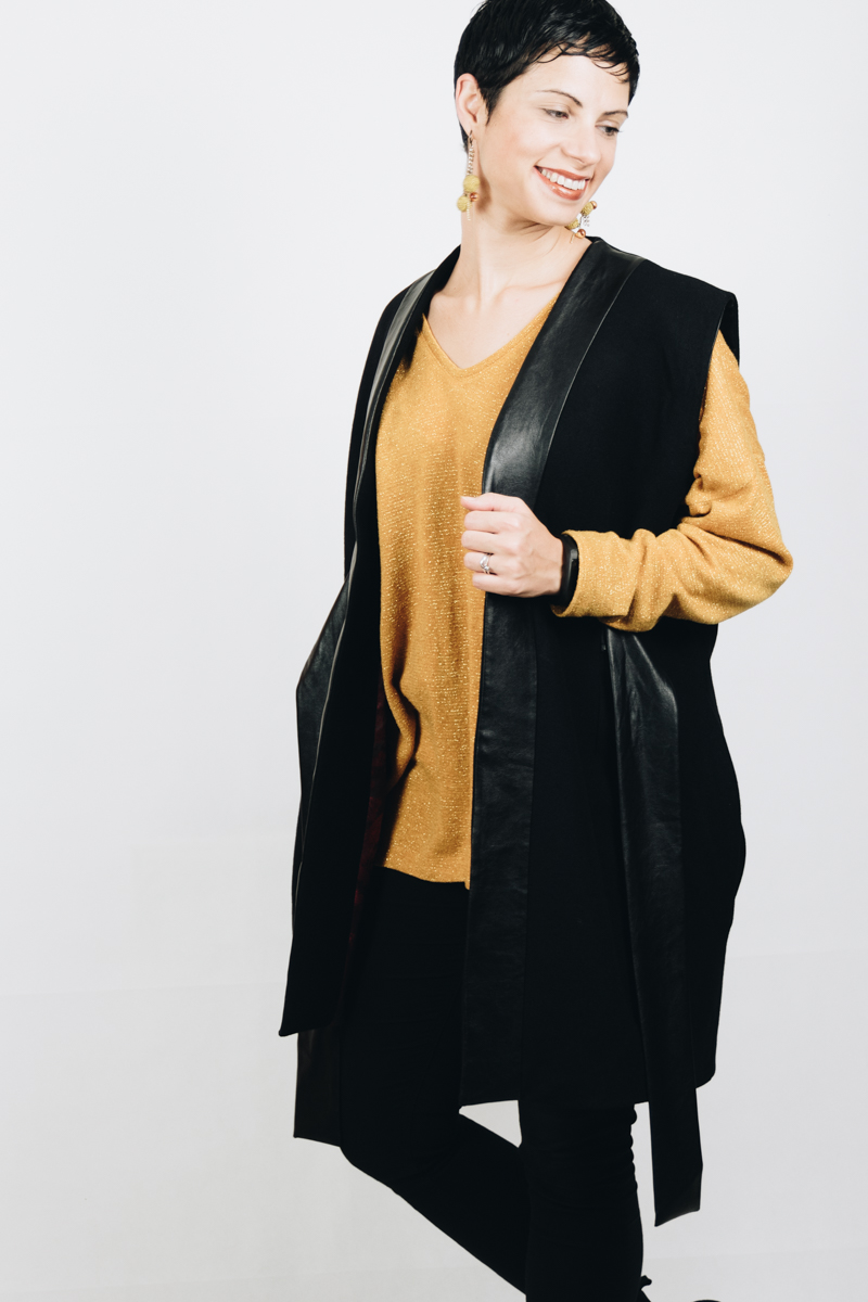 DIY Tailored Oversized wool vest with pleather accents and ties