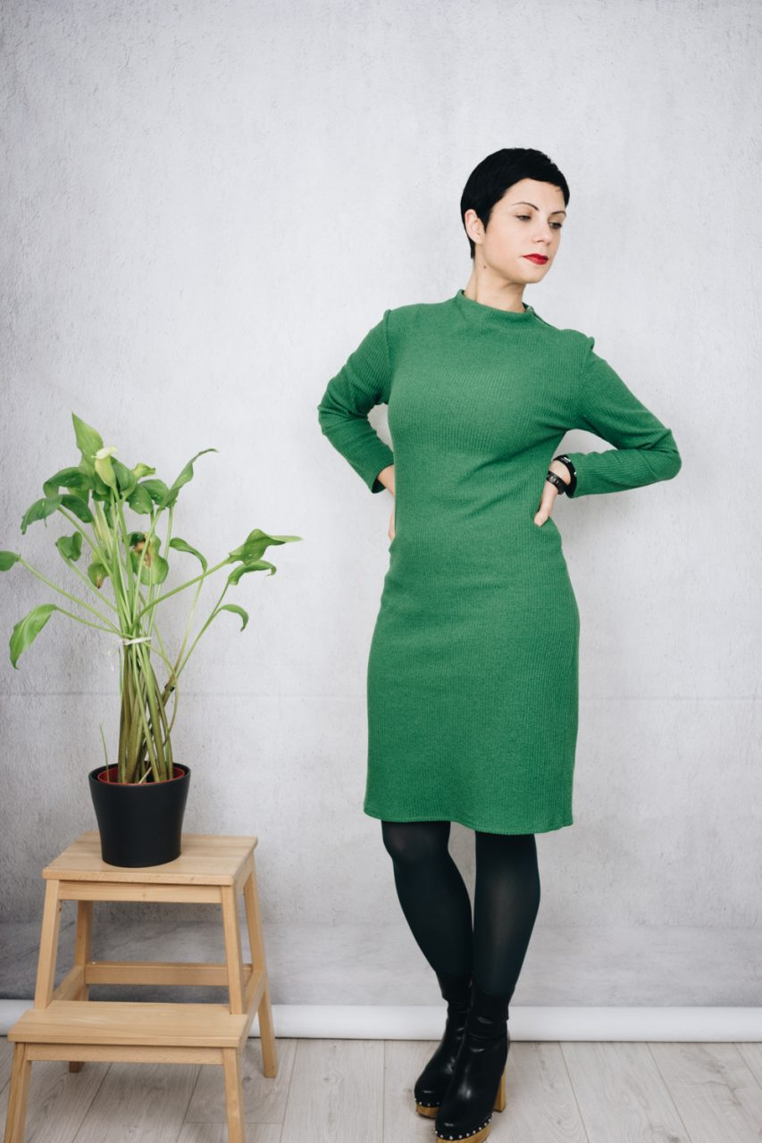 November wear count - Dreen ribbed sheath dress with green tights and wood platform leather boots