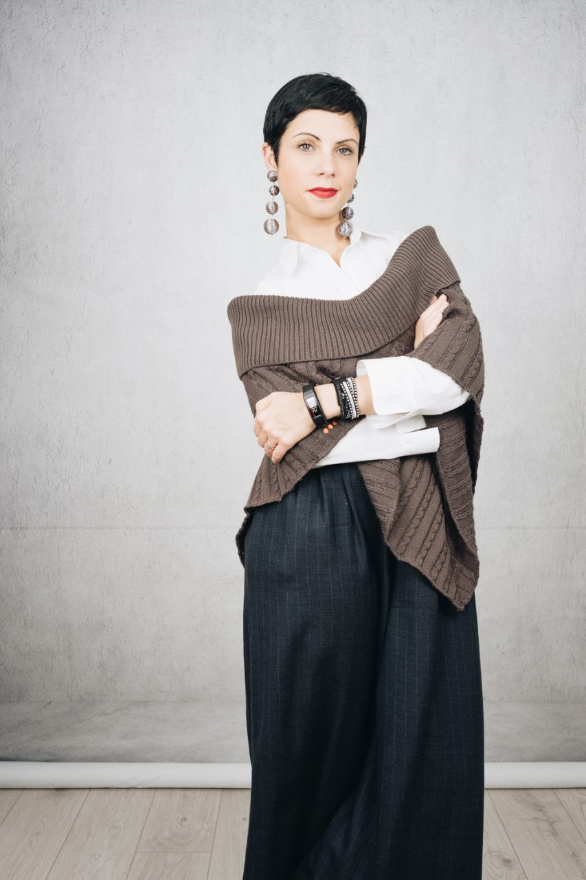 November wear count -Day outfit with culottes, white button down shirt and grey wool poncho