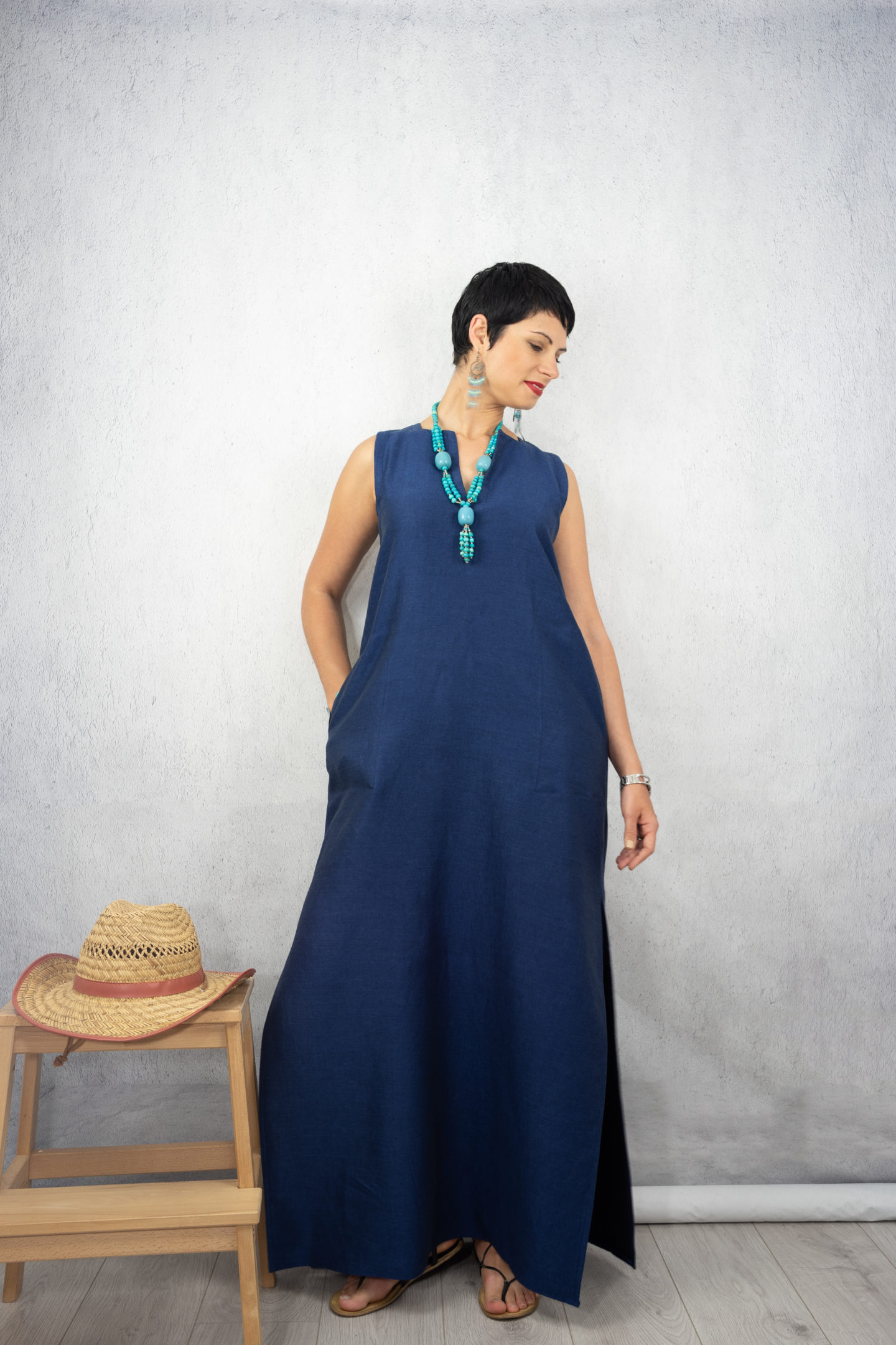 Ann Normandy Linen Maxi Dress