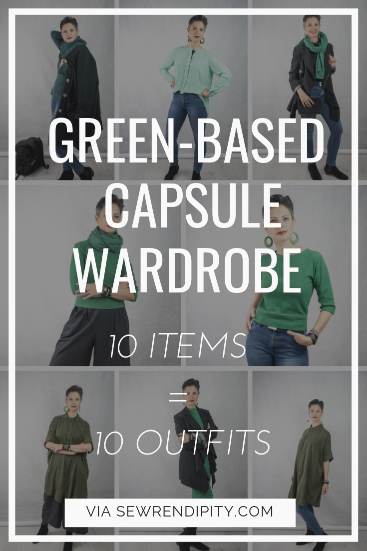 Green-based 10 items capsule collection for winter, early spring and transitional