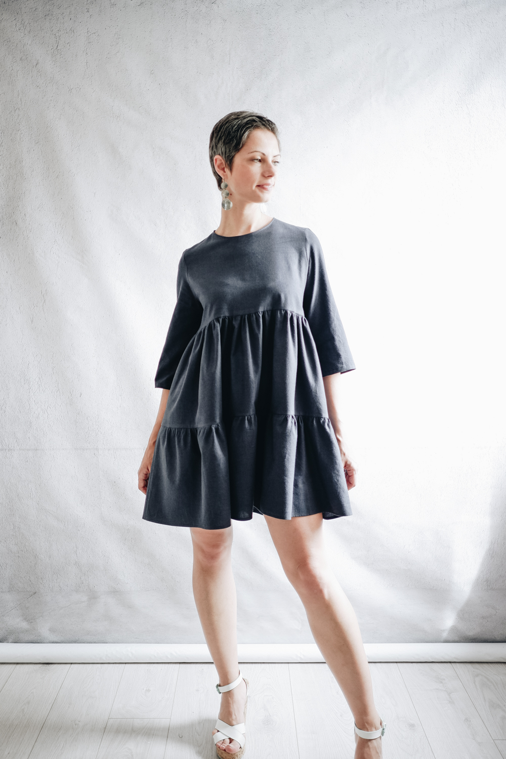 Fibre Mood Mira Dress Review - A-line tiered DIY dress in navy brushed cotton sewn by Sewrendipity