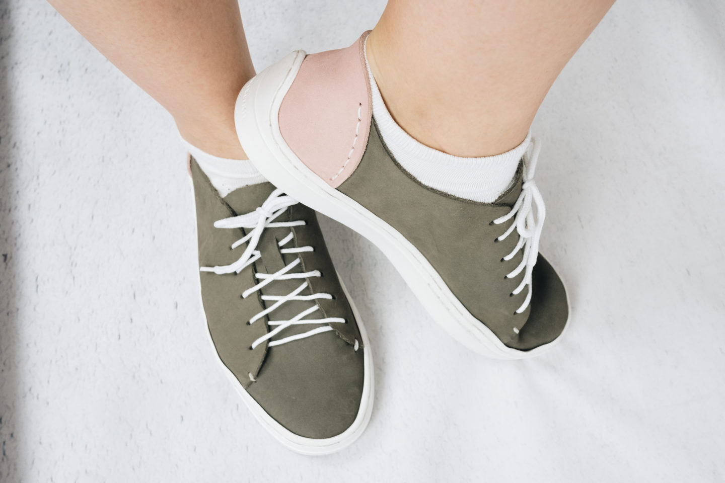 DIY Leather Trainers in grey and pink nubuck, using the Sneaker Kit new sole. Handmade | Sewing | Crafting