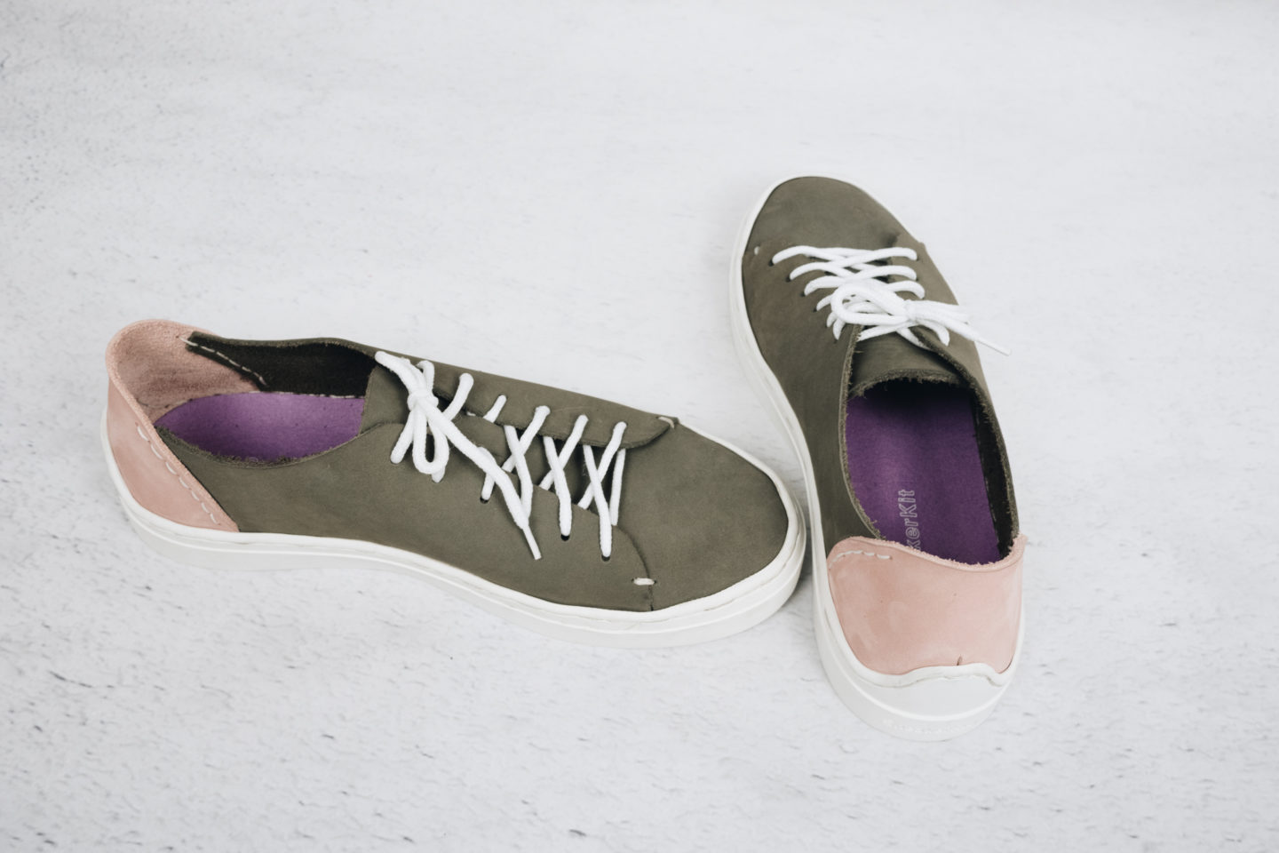 DIY GREY AND PINK LEATHER TRAINERS | SNEAKER KIT NEW SOLE