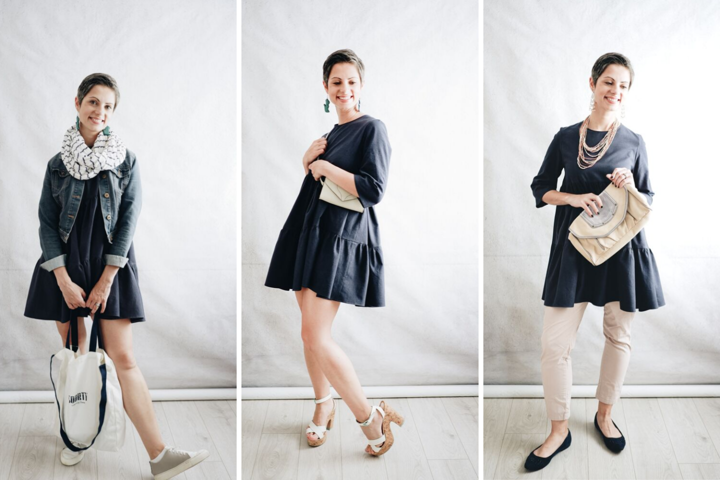 3 ways to style a navy tiered A-line dress based on the Mira Fibre Mood dress sewing pattern