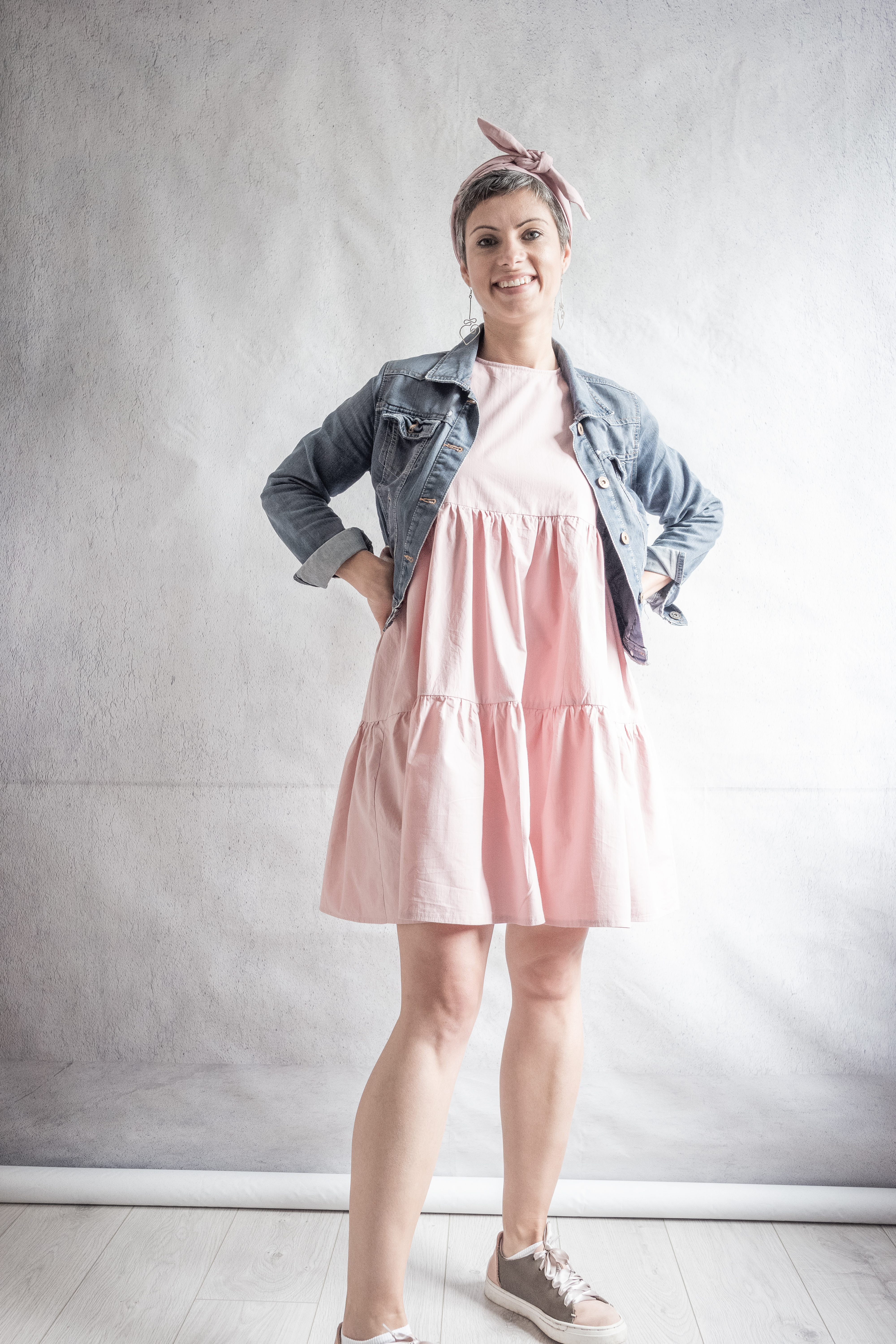 DIY Pink sleeveless tiered dress in cotton poplin