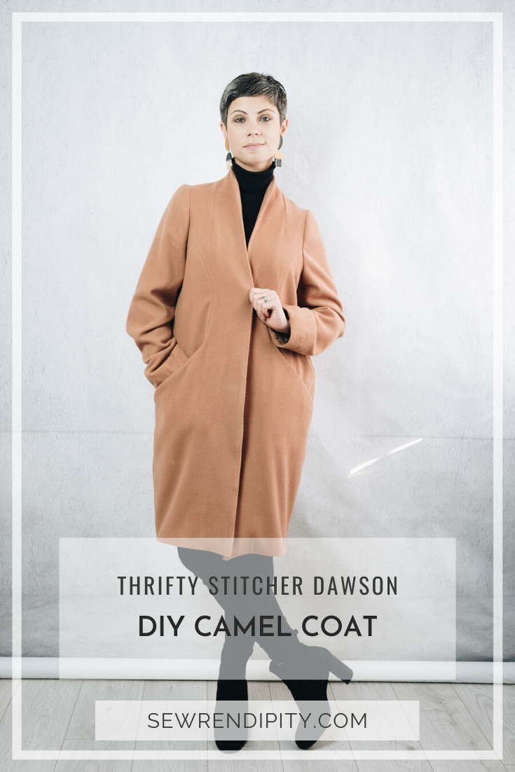 DIY Camel Coat, made using the Dawson Coatigan sewing pattern, by The Thrifty Stitcher